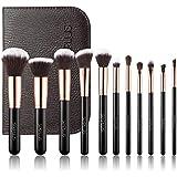 SIXPLUS 11Pcs Royal Golden Make Up Brush Set for Face Foundation Concealer Eyeshadow with Brush Bag (Black)