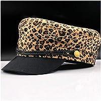 2020 Womens Hats Caps Men Women Wool Felt Leopard Casual Hat Beret Cap Fashion Casual Soft Decoration Newsboy Cap Sailor Cap Outdoor Octagonal Hat Military Uniform (Color : Gold, Size : 56-58CM)