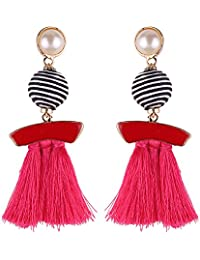 Lambent Boho Chic Geomeric Metal with Dangled Color Tassel Long Statement Earrings Party Bohemia Dress Accessory