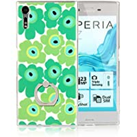 Xperia XZs ケース XZ ケース リング付き スタント機能 ソフトTPU 北欧風 花柄 携帯カバー グリーン tpu-flw-xp2-1-5