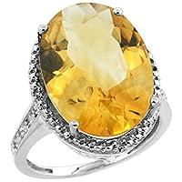 14Kホワイトゴールドダイヤモンド天然シトリンリングオーバル18x 13mm、サイズ5–10