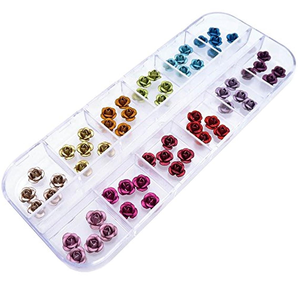 決定する表示収容するアルミ薔薇 上質 12色×各5個セット ケース入り (6mm)
