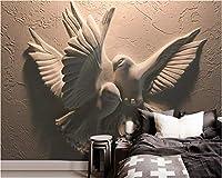 Weaeo カスタム壁紙3次元の救助飛行鳩テレビのソファの背景リビングルームベッドルームの背景3D壁紙-350X250Cm