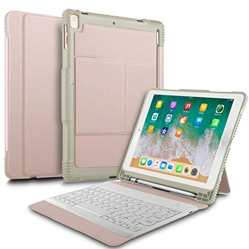ELTD ipad 9.7 2018/2017/iPad air/iPad air 2/iPad pro 9.7 ケースキーボード iPad air (Model A1474/A1475/A1476)/ iPad air 2(Model A1566/A1567)/ iPad pro 9.7(ModelA1673/A1674/A1675)/iPad 9.7 2017(ModelA1822/A1823)/ ipad 9.7 2018(A1893/A1954)キーボードカバー 手帳型pencil収納 高級PUレザーケース オートスリープ機能付き ローズゴールド
