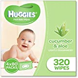 Huggies Aloe & Cucumber Baby Wipes (Pack of 320), 320 Wipes (4 x 80 Pack)