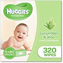 Huggies Aloe & Cucumber Baby Wipes (Pack of 320), 320 Wipes (4 x 80 Pack)