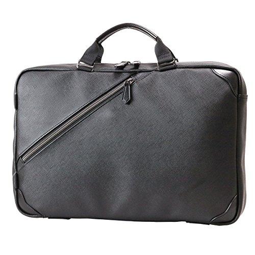 [ザリオ] ZARIO ビジネスバッグ メンズ A4対応 サフィアーノ調 フェイクレザー 2way ビジネスリュック 通勤 【ZA-1008】 (ブラック)