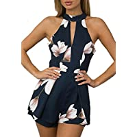 MAXIMGR Womens Fashion Floral Print Halter Sleeveless Hollow Out Romper Jumpsuit Short Pants