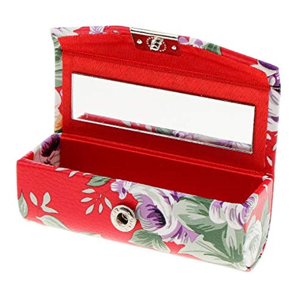 インシュレータつぶすロッジKESOTO リップスティックケース ミラー付き 革製 宝石 メイクアップ 口紅 メイクアップ 収納ホルダー  5色選べ - 赤