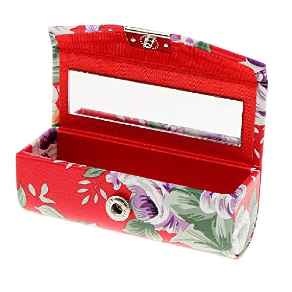 アンペア成果苦悩リップスティックケース ミラー付き 革製 宝石 メイクアップ 口紅 メイクアップ 収納ホルダー 5色選べ - 赤