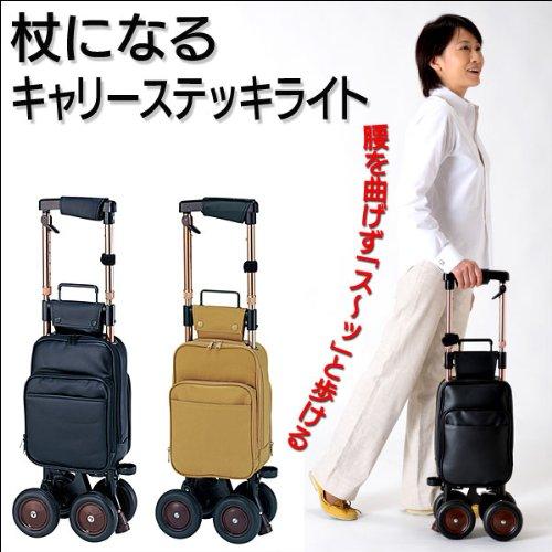 キャリーステッキライト☆杖になる薄型でも安定した4輪カート ...