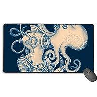 Octopus Ocean Animalカスタムマウスパッド、大型ゲーミングマウスパッド、耐久性のあるステッチエッジを備えた拡張マウスパッド、コンピューターのキーボード、PC、ラップトップ