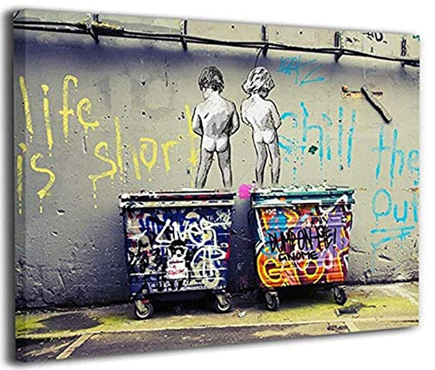 誰でもダメージ姉妹Mzznz バンクシーストリートアートパネルアートフレームキャンバスペインティングインテリアパネルインテリアデコレーションペイントインテリア