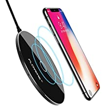 Wireless Charger iPhone X - FLOVEME Utral Slim Qi Wireless Standard Charging Pad for iPhone 8/8 Plus/X, Portable Fast Charge for Samsung Galaxy S8/S8 Plus/S7/S7 Edge/S6 Edge Plus, Note5 and Other Qi-Enabled Devices - Black