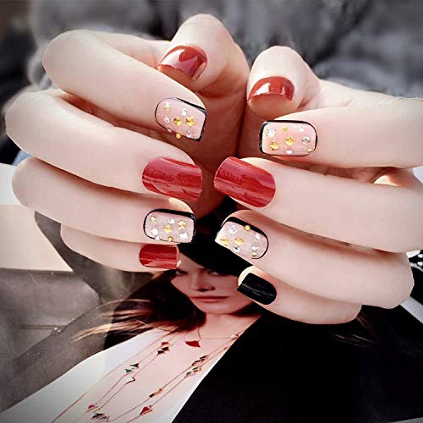 中国混合機構VALEN Nail Patch 3D ネイルチップ 綺麗な飾り付け 24枚入 原宿 和風 夢幻 和装 手作りネイルチップ 結婚式ネイルチッ プ 赤