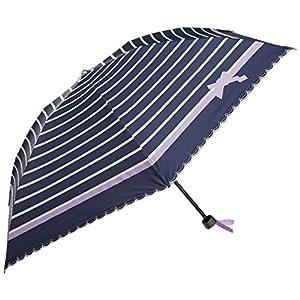 (ムーンバット)MOONBAT ランバンオンブルー 折りたたみミニ傘(遮熱&遮光)パラソル&雨傘 晴雨兼用 ボーダー×リボン 22-084-90260-02 75-50 ディープブルー 親骨の長さ50cm