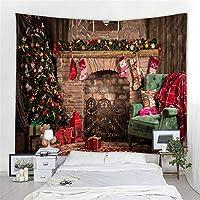クリスマスタペストリー、新年の暖炉の背景美術装飾壁掛けタペストリーホームデコレーション (色 : D, サイズ : 200x180cm)