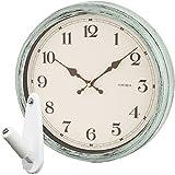 ノア精密 エアリアル レトロ 電波時計 W-571 + 壁の穴が目立ちにくい時計用壁掛けフック 2点セット 掛け時計 掛時計 壁掛け時計 壁掛時計 フック おしゃれ NOA rimlex (グリーン)