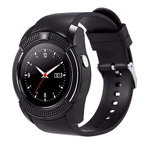 Antech V8 スマートウォッチ smart watch Bluetooth搭載 多機能腕時計 スマートデジタル腕時計 スマート ウォッチ Watch 健康 タッチパネル 着信お知らせ/置き忘れ防止/歩数計/高度計/アラーム時計 (ブラック)