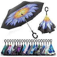 ZOMAKE Double Layer Inverted Umbrella Cars Reverse Folding Umbrella, UV Protection Windproof Large Straight Umbrella with C-Shaped Handle …