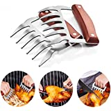 SSGP Bear Claws, Meat Shredder Claws Food-Grade Stainless Steel Turkey Lifter with Wooden Handle for Carving Shredding Liftin