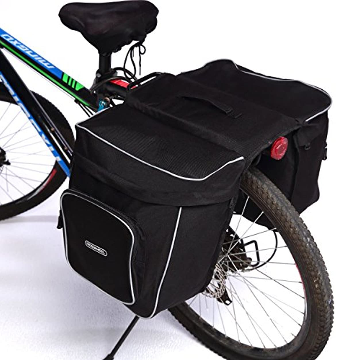 構成する配る振る自転車用パニアバッグ 多機能バッグ バイシクルバッグ サイドバッグ シートバッグ サイクリングバッグ 衝撃吸収 防水仕様 30L 大容量 ブラック
