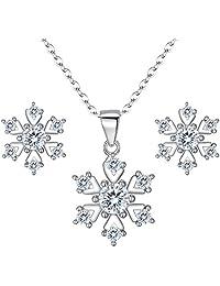 Clearine Women 925 Sterling Silver Cubic Zirconia Snowflake Shape Pendant Necklace Stud Earrings Set Clear
