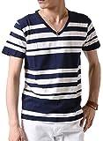 (アーケード) ARCADE メンズ 先染めボーダー Tシャツ 春 夏 Vネック 半袖 7分袖 カットソー S (半袖)5-白×紺-ランダムボーダー