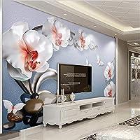 Lixiaoer カスタム3D壁画壁紙ヨーロッパスタイルジュエリー花写真壁壁画リビングルームテレビソファ壁絵画高級フレスコ-400X280Cm