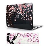 MacBook Air 13 early 2015 ケース ハード ケース カバー (対応モデル: A1369/A1466) かわいい桜図案付きクリスタル印刷ケース ガールギフト + Air 13.3 インチ キーボードカバー(M403-2)