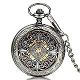 JewelryWe メンズ 懐中時計 アンティーク 擬古 ファション 手巻き アナログ表示 ローマ字 ウオッチ 時計 パンク系 ファション