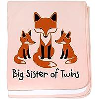 CafePress – Big SisterのTwins – Mod Fox – スーパーソフトベビー毛布、新生児おくるみ ピンク 07735246826832E