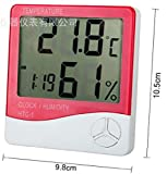 デジタル 温度 湿度 計 アラーム 付き 時計 液晶画面 日本語説明書付 HTC-1 3色 カラー (レッド)
