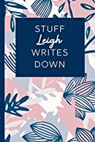 Stuff Leigh Writes Down: Personalized Journal / Notebook (6 x 9 inch) STUNNING Navy Blue and Mauve Blush Pink Pattern