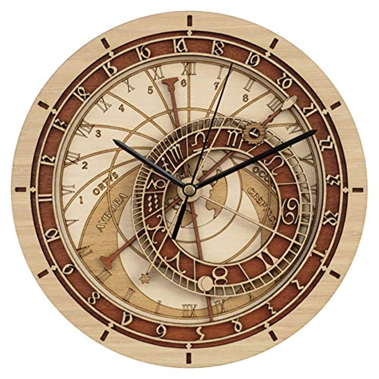朝食を食べる満員優れたプラハ天文木製壁掛け時計、ラウンド12インチ/ 30CMフレームレス天文学12星座サイレントクォーツ時計、ファッションホームデコレーション壁掛け時