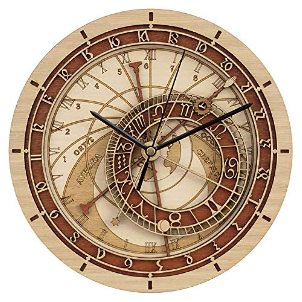 後方中で気体のプラハ天文木製壁掛け時計、ラウンド12インチ/ 30CMフレームレス天文学12星座サイレントクォーツ時計、ファッションホームデコレーション壁掛け時
