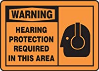 Accuform MPPE323VS Sign LegendWARNING HEARING PROTECTION REQUIRED IN THIS AREA 7 Length x 10 Width x 0.004 Thickness Adhesive Vinyl 7 x 10 Black on Orange [並行輸入品]