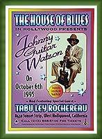 ポスター デニス ローレン ジョニーギターワトソン、ハウス・オブ・ブルース、ハリウッド 1995 額装品 ウッドベーシックフレーム(グリーン)