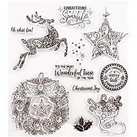 BESTOYARD ラバークリアスタンプシートクリスマススタンプDIYシールスタンプスクラップブッキングフォトアルバム