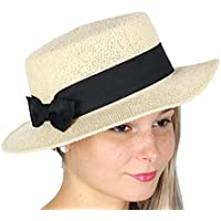 SERENITA Summer Beach Sun Boater Hat, Women, 80s 90s Golf Outdoor SPF UPF