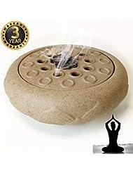 WOW 陶器製香炉ホルダー 手作り スティック/コーン/コイル線香に最適 ホワイト