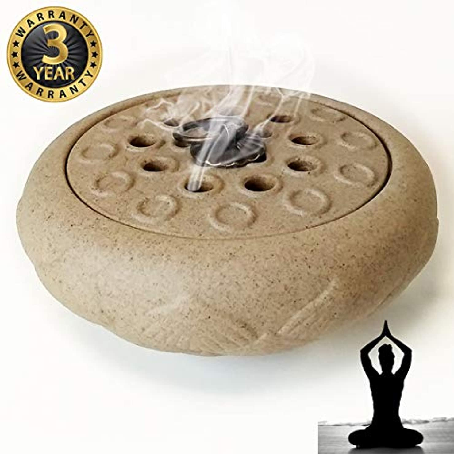 戦争部屋を掃除するむき出しWOW 陶器製香炉ホルダー 手作り スティック/コーン/コイル線香に最適 ホワイト
