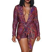 acelyn Women's 2 Piece Outfits - Casual Long Sleeve Striped Blazer Jacket + Shorts Suit Set Clubwear