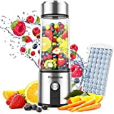 Portable Blender Glass, PopBabies Smoothie Blender to go, Rechargeable USB Blender with travel, Wireless Personal Blender Pro