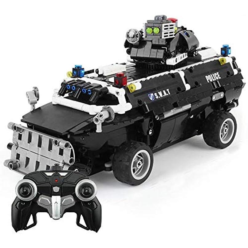憂鬱上にここにリモートコントロール部隊キャリア車ロボットビルディングキットdiy組立ビルディングブロック電子玩具ブラックカービルディングキット用キッズ