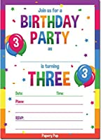 3rd Birthdayパーティー招待状封筒付き( 15Count )–3年古い子供誕生日招待状for Boys or Girls–レインボー