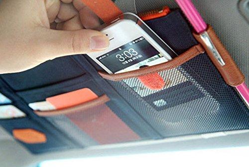 車 サンバイザー オシャレに日よけ 小物入れ 便利 収納 快適 ドライブ ポケット (ベージュ)