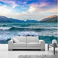 Lcymt 壁のためのカスタム3D壁紙雪の山海の風景の壁紙装飾的なモダンな壁紙-350X250Cm