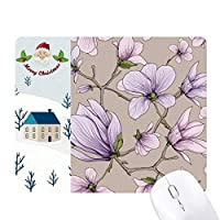 紫の絞りの芸術の花 サンタクロース家屋ゴムのマウスパッド