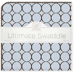 【並行輸入品】Swaddle Designs 究極のおくるみブランケット ブラウンサークル パステルブルー SD-016PB